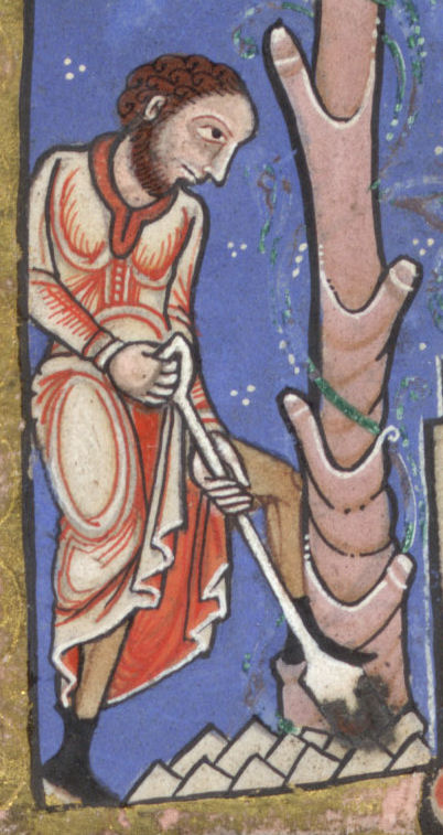Detail from the Hunterian Psalter, Glasgow University Library MS Hunter 229 (U.3.2) circa 1170. Public domain in the US