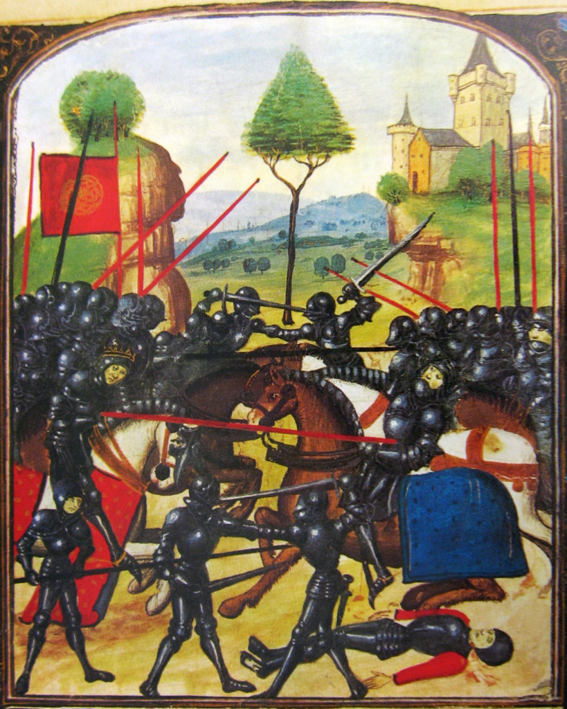 Illustration of the Battle of Barnet (14 April 1471) on the Ghent manuscript. Public domain in the US