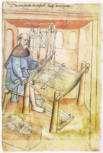 Man weaving on a loom, circa 1425. Public domain in the US