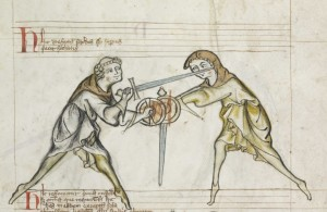 Detail of fol. 5r from Royal Armouries Ms. I.33, circa 1300. Public domain in the US