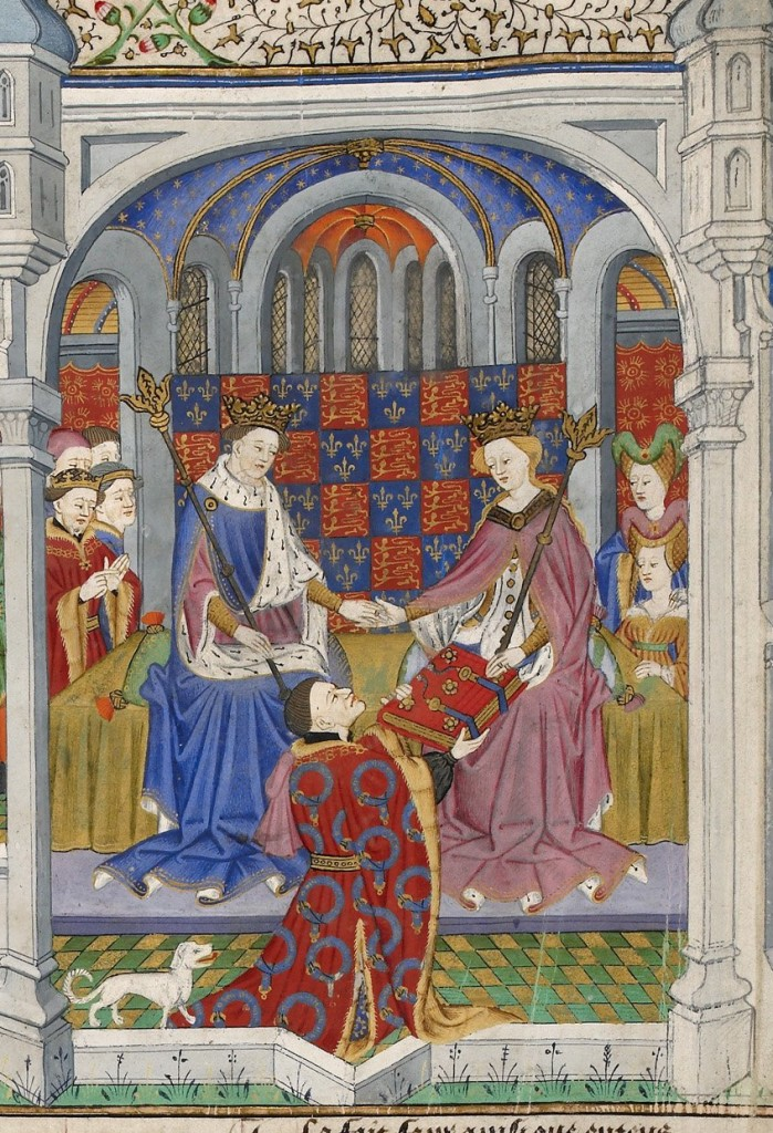 Presentation scene; detail of a miniature from BL Royal MS 15 E vi, f. 2v. 15th C. Public domain in the US