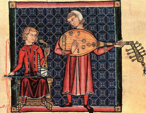 Unknown Artist. Minstrels with a Rebec & a Lute. 13th c. Manasseh Codex. El Escorial, Madrid.  Public domain in the US