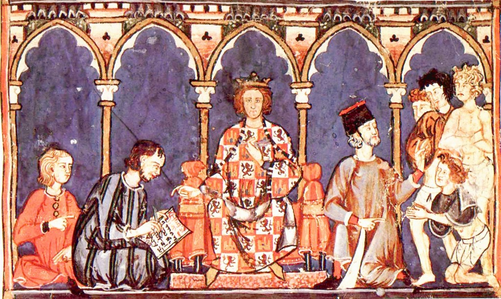 "Alfonso X ""El Sabio"" and his Court, 13th Century. Public domain in the US."