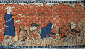 Men harvesting wheat, Queen Mary's Psalter, circa 1310. Public domain in the US