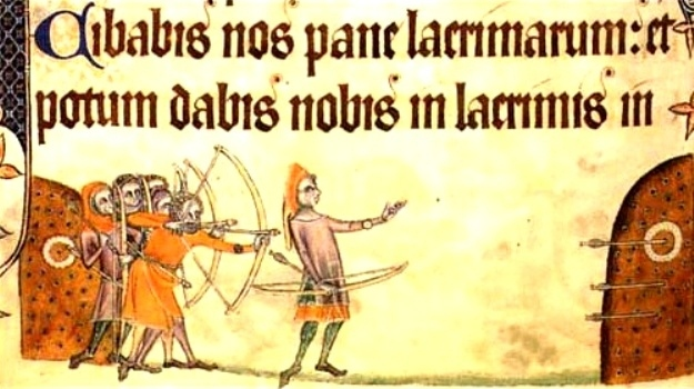 Archery practice at earthen butts, c1325. The center markers are small wreaths. Detail from the Geoffrey Luttrell psalter. Public Domain in the United States