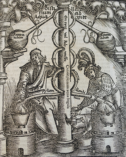 Woodblock from Ulstadt's 1525 work, Coelum philosophorum seu de secretis naturae liber. Public domain in the US