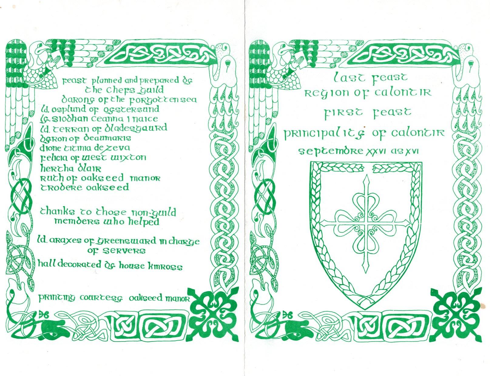 Outside of Flyer for the last feast of the Region of Calontir / first feast of the Principality of Calontir held on 26 September AS XVI (1981).