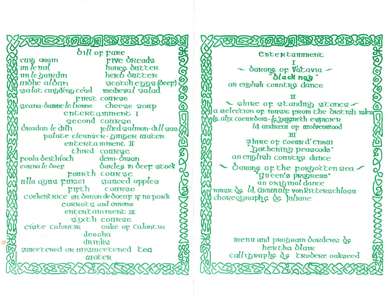 Inside of Flyer for the last feast of the Region of Calontir / first feast of the Principality of Calontir held on 26 September AS XVI (1981).