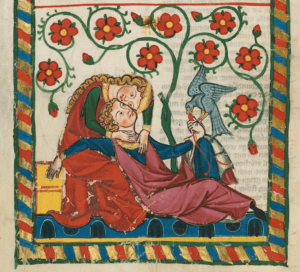 Lovebirds in the 14th-century Codex Manesse (Cod. Pal. germ. 848, f. 249v). Universitätsbibliothek Heidelberg, CC BY-SA