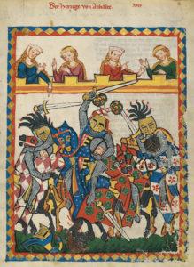"""Codex Manesse, UB Heidelberg, Cod. Pal. germ. 848, fol. 17r, """"Herzog von Anhalt"""", 1305-1315. Public Domain in the United States"""