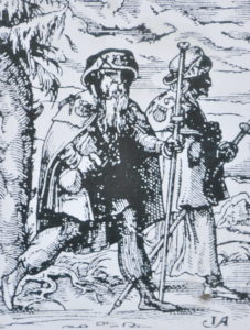 Pilgrim on the Way of St. James (Jakobsweg), 1568. Public domain in the United States.